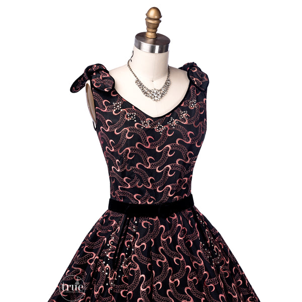 vintage 1950's dress ...serpentine embroidered black & pink Laurie Jane New York dress