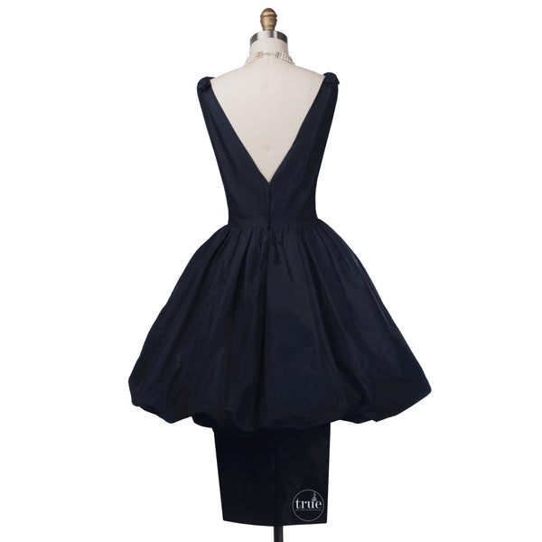 vintage 1950's dress ...classic LEE CLAIRE new york navy silk peau de soie bubble dress