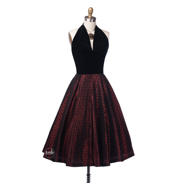vintage 1950's dress ...red & black velvet halter Lorrie Deb of San Francisco dress