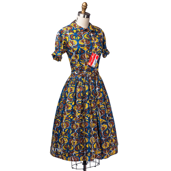vintage 1950's dress ...deadstock hawaiian tiki M. Lowenstein mid-century tapa print shirtwaist dress