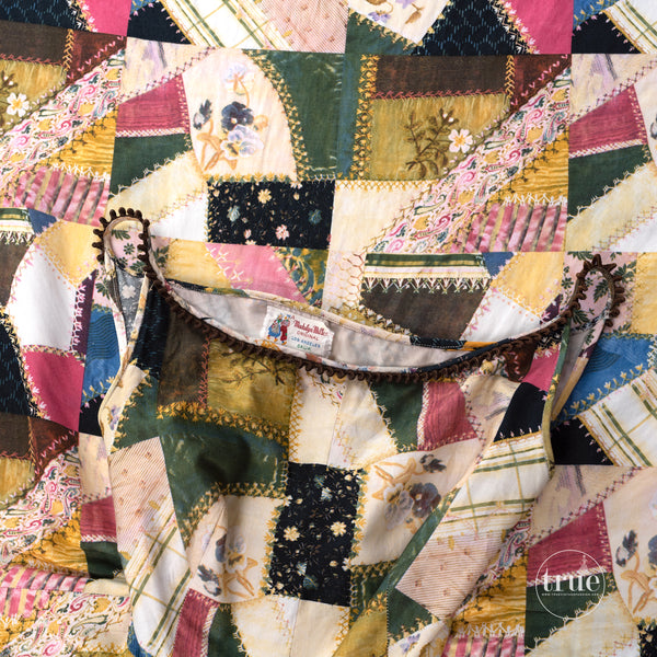 vintage 1950's dress ...fab Madalyn Miller crazy quilt novelty print full circle skirt dress