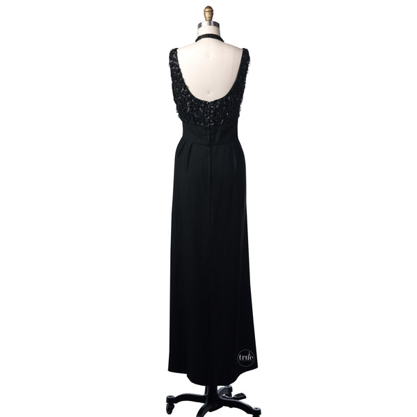 1950's Mardi Gras black beaded shimmy dress