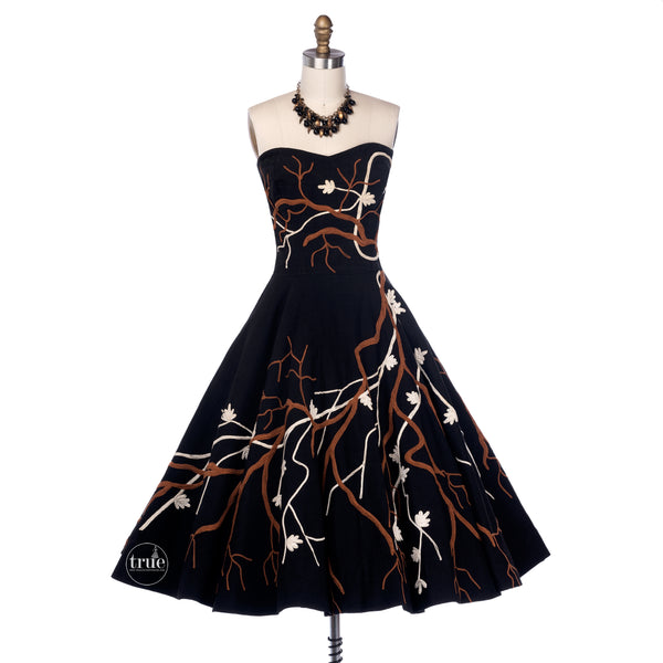vintage 1940's dress ...the best Maya de Mexico black 3D cherry blossom branches circle skirt dress