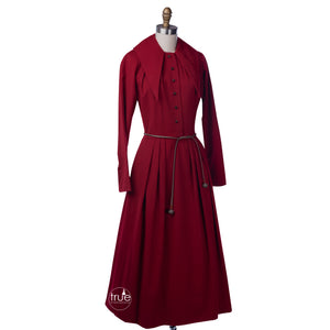 vintage 1940's dress ...rare designer Claire McCardell red wool dress
