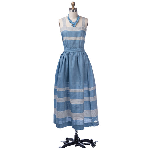 vintage 1940's dress ...classic make mine a McKettrick chambray cotton and stripes sundress and bolero