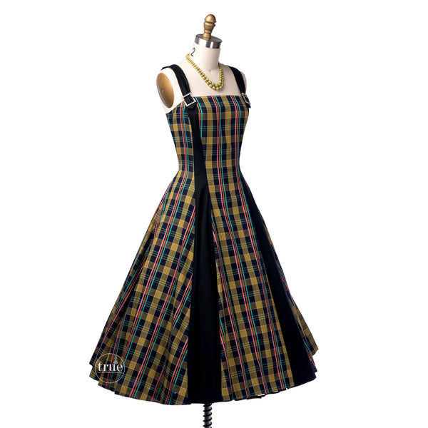 vintage 1940's dress ...fun Miami Miss colorful woven summer plaid full skirt dress
