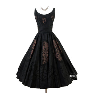 vintage 1950's dress ...black Miss Elliette nude illusion cocktail full circle skirt dress
