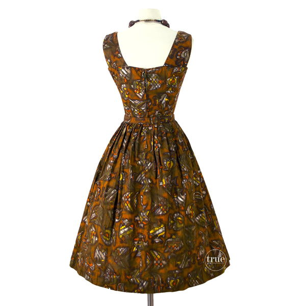 vintage 1950's dress ...MODE O'DAY midcentury fish novelty print dress