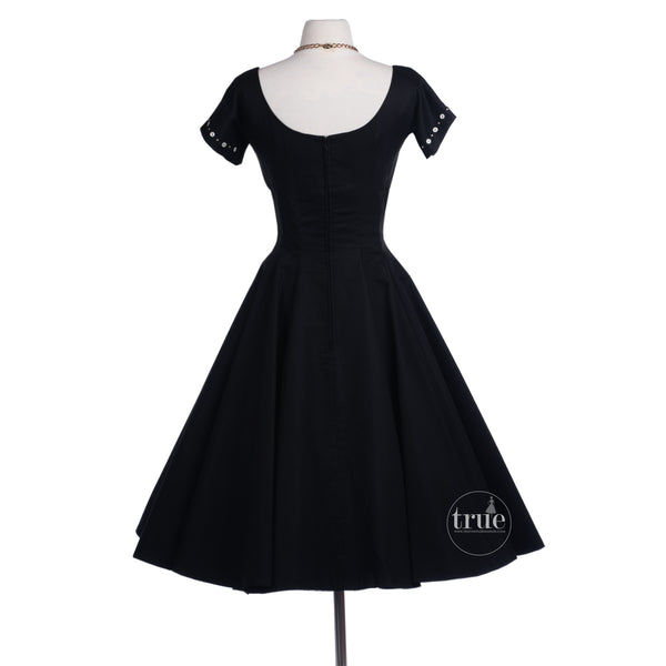 vintage 1950's MR. MORT black FULL CIRCLE pin-up party dress
