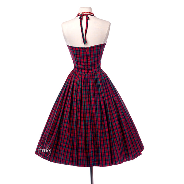 vintage 1950's dress ...classic Mr. Mort red plaid tartan halter dress and bolero jacket