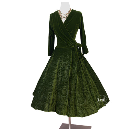 vintage 1950's 2 pc dress set ...gorgeous Nelly de Grab embossed green velvet skirt and top