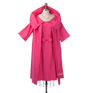 vintage 1960's dress ...classic jackie o Parade New York pink dress & swing coat