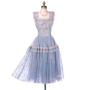 vintage 1940's dress ...pretty Parasol Originals sheer blue organza w/ pink flocked berries dress