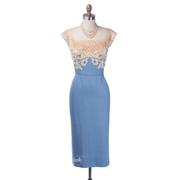 vintage 1950's dress ...gorgeous Peggy Hunt sky blue linen nude illusion bombshell wiggle dress