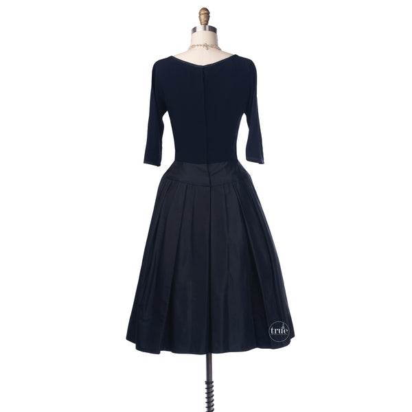vintage 1950's dress ...classic PEGGY HUNT navy silk peau de soie overskirt cocktail dress