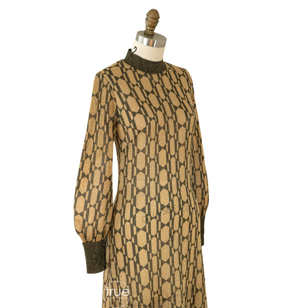vintage 1970's Pelilla metallic lamé dress w/ signed hand printed cubist deco ladies