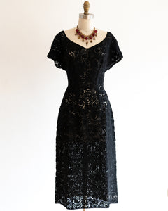 vintage 1950's dress ...gorgeous Hexi by Perutz Brothers wool ribbon dress