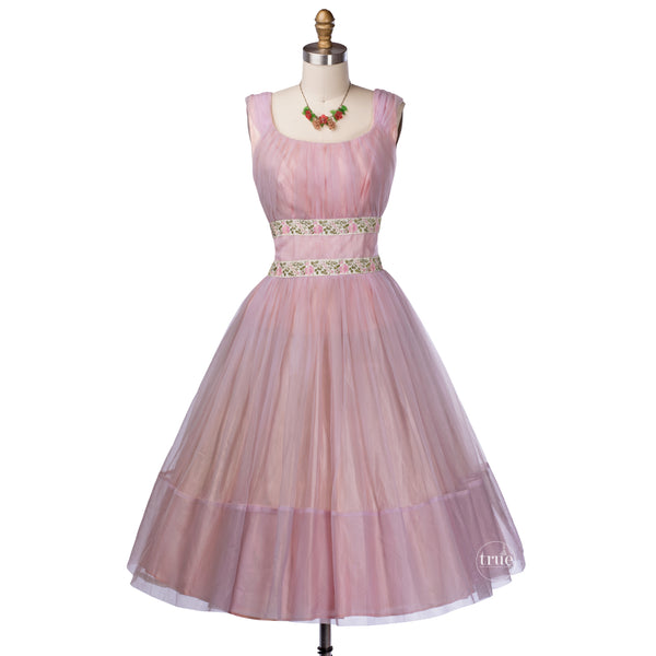 vintage 1950's dress ...floaty pink chiffon embroidered ribbon princess prom dress