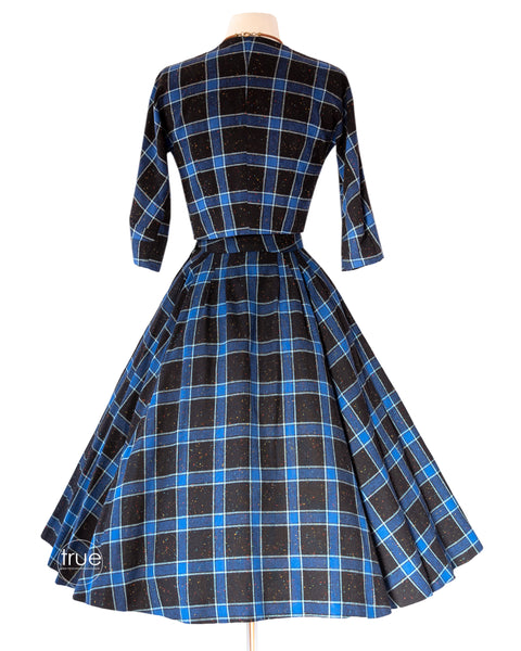 vintage 1950's dress ensemble ...2 piece top & skirt blue plaid RAINBOW confetti fleck