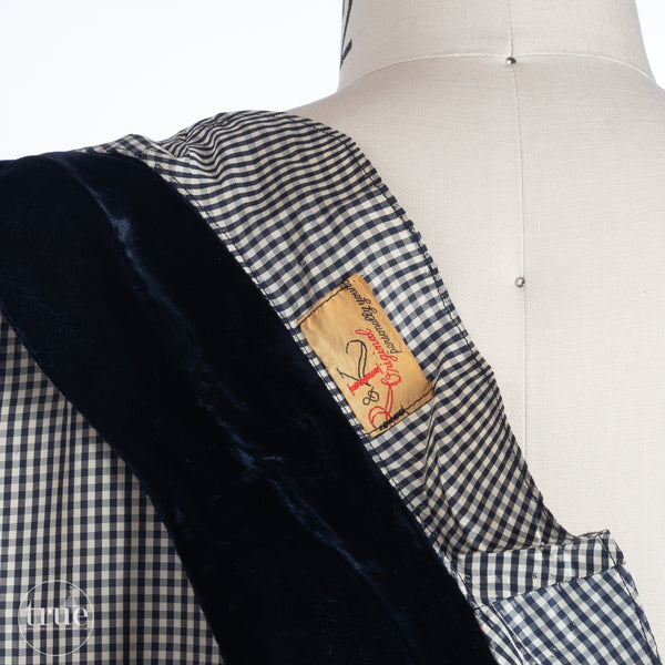 vintage 1940's dress ...fab R&K Originals Navy Blue Gingham Dress w/ BUTTONS