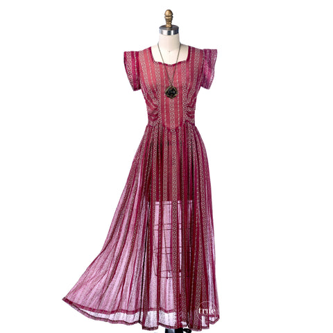 vintage 1940's dress ...flocked cranberry organza semi-sheer midi dress