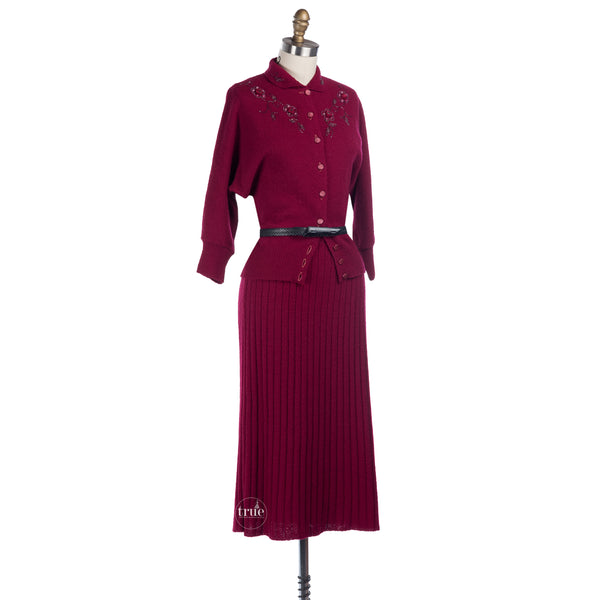 1940's beaded raspberry bouclé sweater skirt set