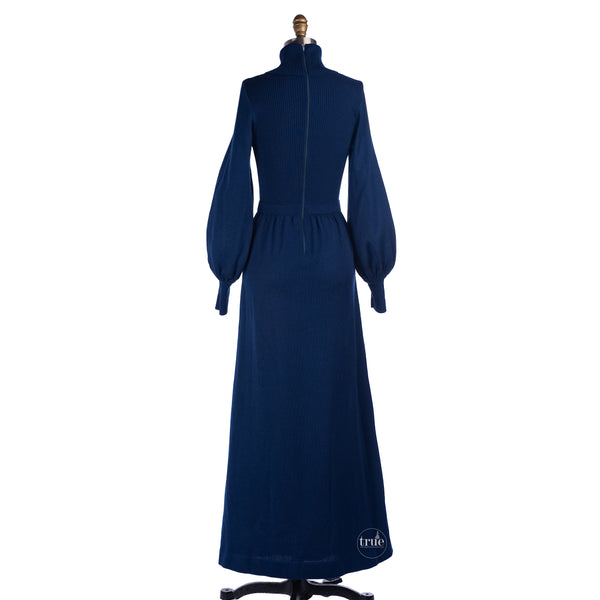1960's Roncelli blue knit maxi dress