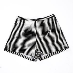 vintage 1950's short shorts ...authentic black & white knit striped short - shorts
