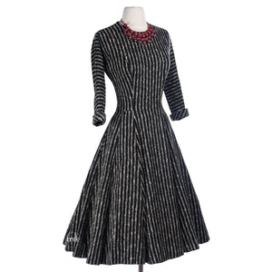 1940's striped wool sweater dress