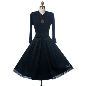 1950's SUBURBAN navy crepe dress