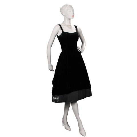 vintage 1950's dress ...classic Suzy Perette black velvet and matte cocktail party dress