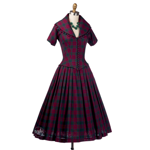 vintage 1950's dress ...dior inspired Suzy Perette new look plaid full skirt dress with ball fringe