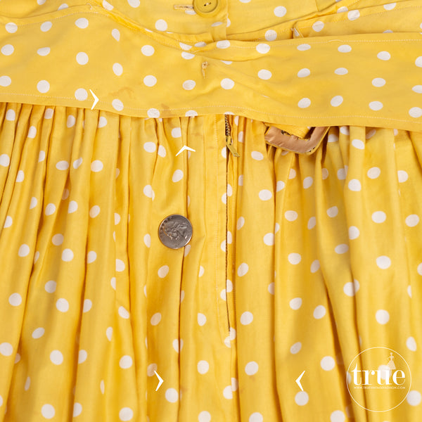 1950's dior inspired Suzy Perette yellow polka dot dress