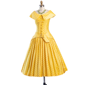 Vintage 1950's Dress ...Dior inspired Suzy Perette Yellow Polka Dot Cotton Full Skirt Dress