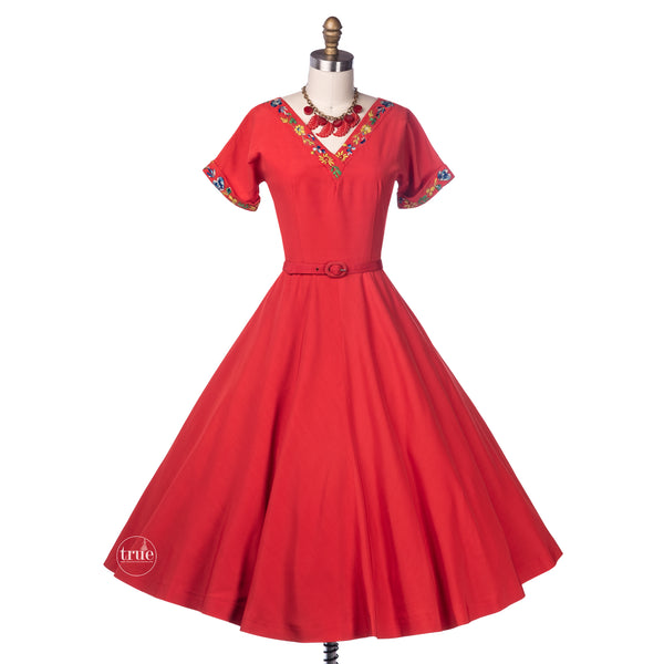 vintage 1950's dress ...pretty Teena Paige coral red embroidered full skirt dress