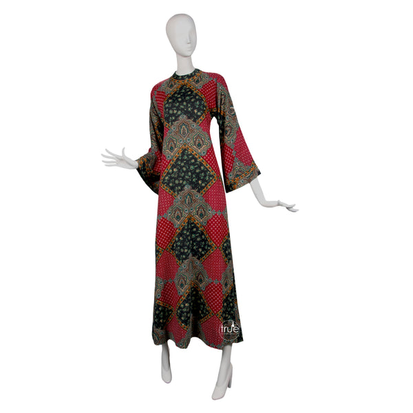 vintage 1960's dress ...amazing designer Tina Leser Original wool ethnic dashiki caftan dress
