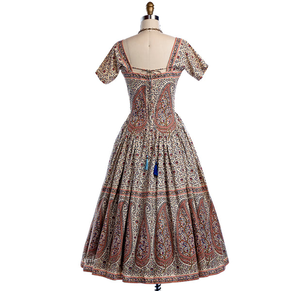 vintage 1950's dress ...rare Tina Leser Original cotton ethnic paisley cutout full skirt dress