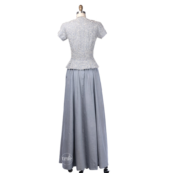 vintage 1940's dress ...rare early Pauline Trigeré 2 piece soutache chambray jacket and skirt ensemble