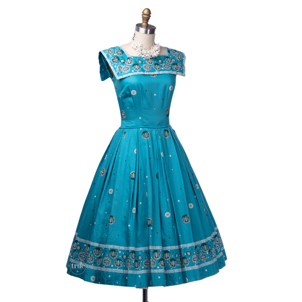 vintage 1950's dress ...fab polished cotton hawaiian screen print full skirt summer sun dress