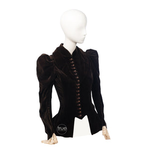 vintage 1890 - 1910 Victorian Edwardian jacket ..rich chocolate velvet with corset waist spiked buttons huge puffed sleeves and peplum