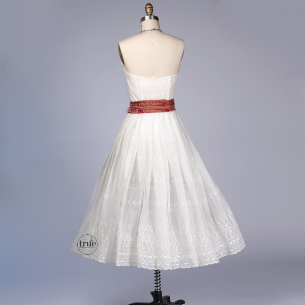 vintage 1950's dress ...timeless white eyelet organza petal bust circle skirt dress