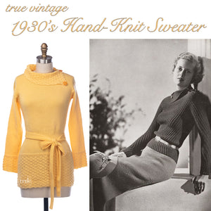 vintage 1930's sweater ...fabulous dandelion yellow hand knit asymmetrical fold down collar