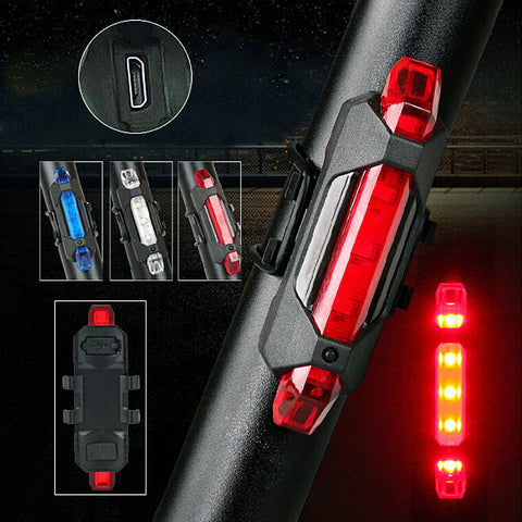 15 Lumens Portable USB Rechargeable Bike Tail Light 4 Modes