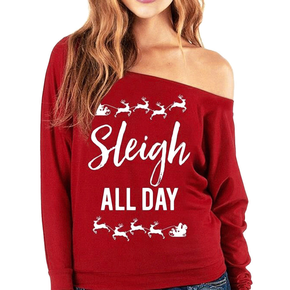 Womens Christmas Long Sleeve Letter Sweatshirt Printed Pullover Tops Blouse
