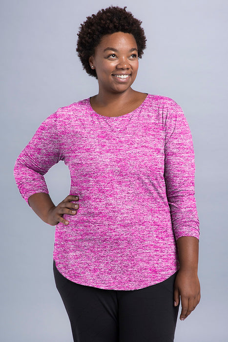 Aria Plus 3/4 Ruched Sleeve Top - Vivacity Sportswear
