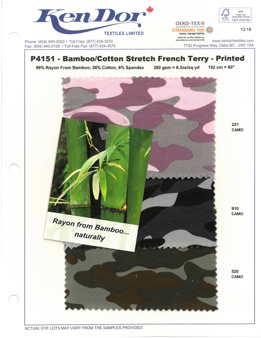 P4151 - Bamboo Cotton Stretch French Terry - Printed
