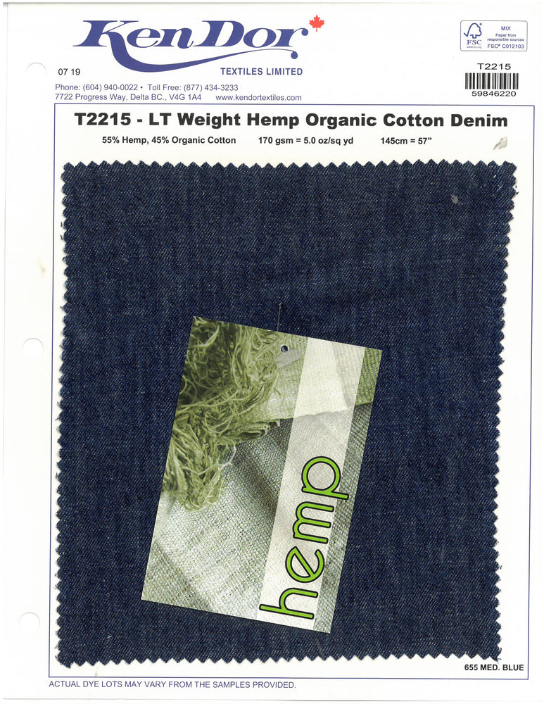 T2215 - Light Weight Hemp Organic Cotton Denim