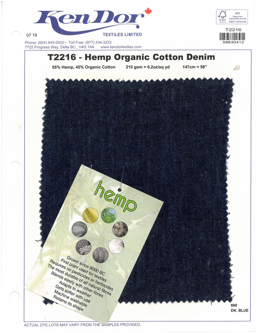 T2216 - Hemp Organic Cotton Denim
