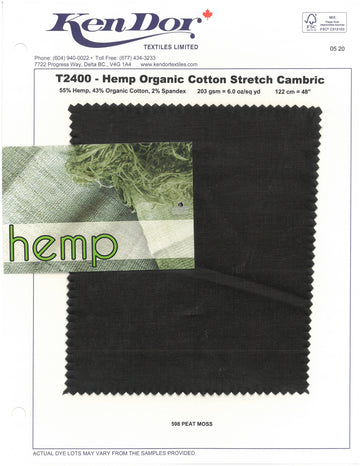 T2400 - Hemp Organic Cotton Stretch Cambric