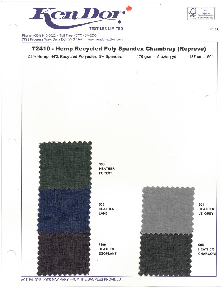T2410 - Hemp Recycled Poly Spandex Chambray